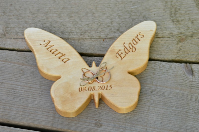 personalized wood wedding ring bearer pillow rustic wedding ring holder wood butterfly ring box - Wedding Ring Holder
