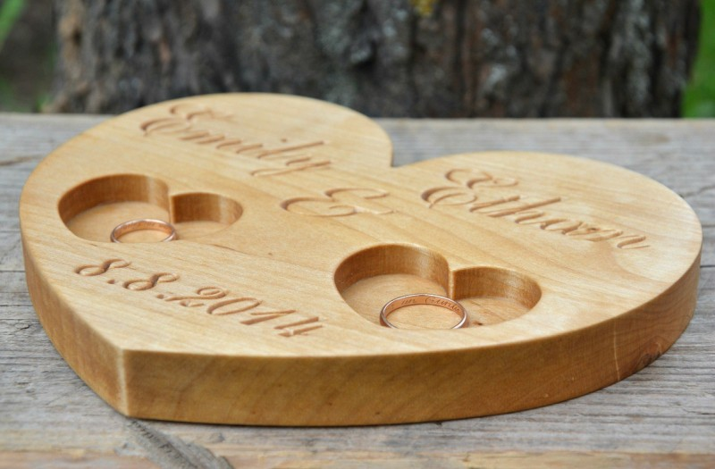 usd personalized wood wedding ring bearer rustic wedding ring holder wood ring pillow. Black Bedroom Furniture Sets. Home Design Ideas
