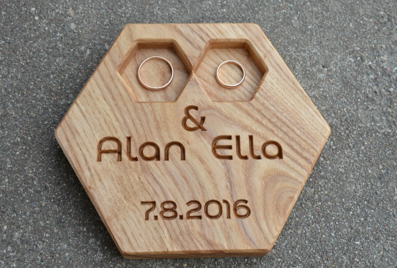 62cfe2b52f Personalized Modern Wood Ring Box Hexagon Wedding Ring Bearer Pillow Rustic  Wedding Ring Holder