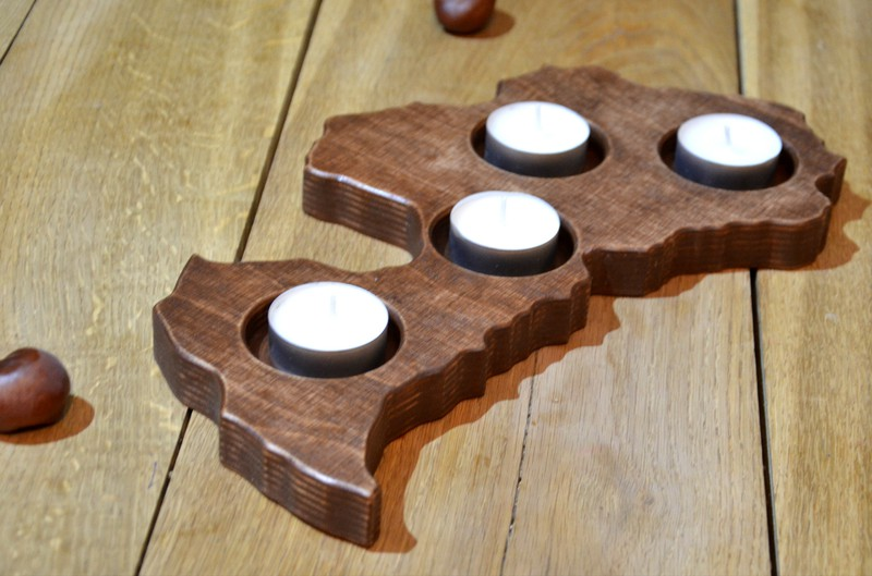 Usd advent wood candle holder in a shape of country for Candle holders out of wood