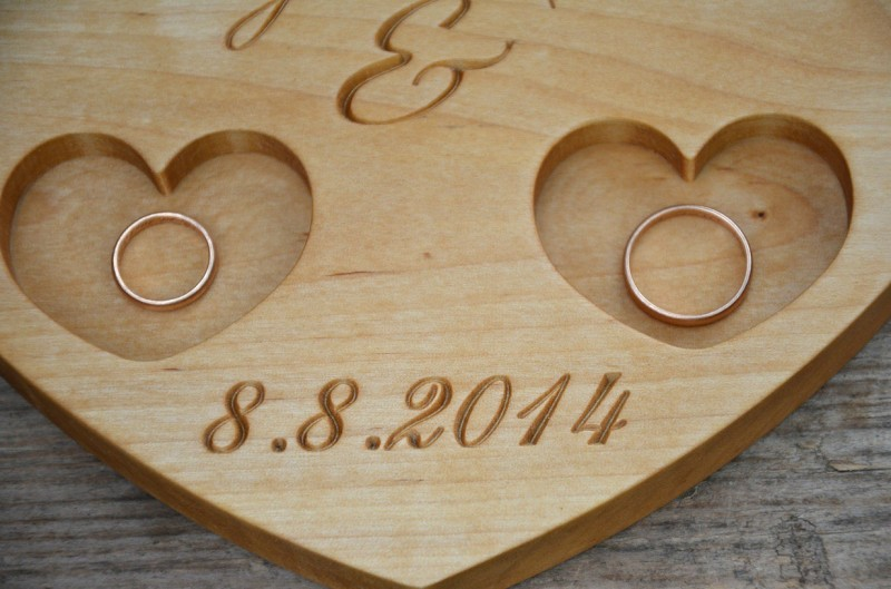 personalized wood wedding ring bearer rustic wedding ring holder wood ring pillow - Wedding Ring Holder