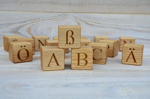 30 wooden german alphabet letter blocks handmade abc blocks wood letter cubes natural toy building blocks birthday gift idea