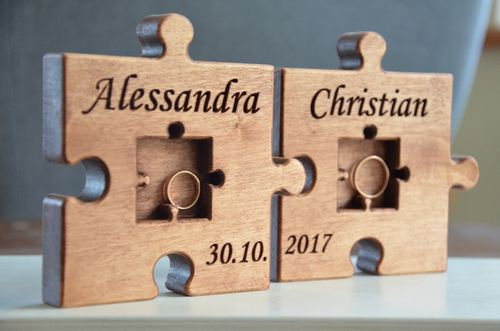 72 00 Personalized Wood Wedding Ring Bearer Pillow Puzzle Rustic