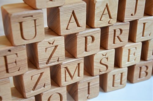 4600 32 Lithuanian Wood Alphabet Blocks Abc Wood Letter Blocks