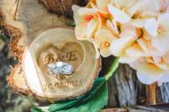 Personalized Wood Ring Holder, Rustic Wedding Ring Bearer Pillow, Oak Wood Ring Box