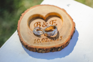 Personalized Wood Ring Holder, Rustic Wedding Ring Bearer Pillow, Oak Wood Ring Box