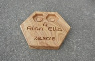 Personalized Modern Wood Ring Box Hexagon Wedding Ring Bearer Pillow Rustic Wedding Ring Holder