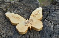 Personalized Wood Wedding Ring Bearer Pillow, Rustic Wedding Ring Holder, Wood Butterfly Ring Box