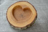 Rustic Wood Ring Holder, Oak Wedding Ring Bearer Pillow, Ring Box, Oak Tree Slice