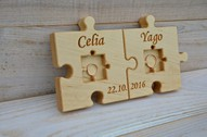 Personalized Wood Wedding Ring Bearer Pillow, Rustic Wedding Ring Holder, Wood Puzzle Ring Bearer
