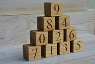 0 to 9 Wood Number Blocks, 2 Inches large Natural Handmade Wooden Toy Blocks Numbered 0 to 9, Wooden Number Blocks, Baby Shower Gift idea