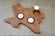 Wood Candle Holder Shape State Texas Patriotic Home Decor